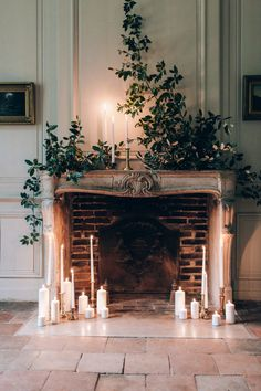 Intimate winter chateau wedding in France - 100 Layer Cake Faux Fireplace, Fireplace Mantels, Mantles, Fireplaces, Christmas Decorations, Holiday Decor, Wedding Fireplace Decorations, Flower Centerpieces, Christmas Home