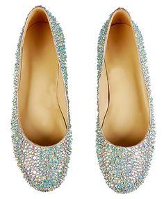 Sweet Style Full Rhinestone Flat Heel Wedding Shoes