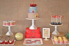 vintage plane birthday cake + dessert table