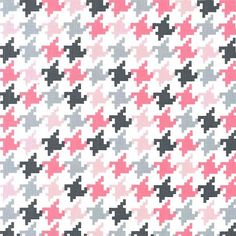 Pink Gray Houndstooth  Michael Miller Modern designer fabric.  100% cotton.  Perfect for quilting, sewing and crafts.  On Sale in Etsy by SouthernStitchFabric