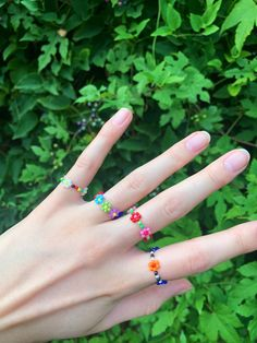 Excited to share this item from my #etsy shop: Colorful Beaded Daisy Chain Flower Rings