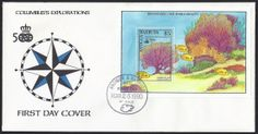 Antigua First Day Cover Scott #1283 (26 Mar 1990) Souvenir Sheet with UPAE and Discovery of America emblems. Discovering New World Beauty: Common sea fan (Gorgonia ventalina).