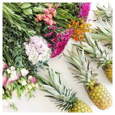 #summer #pineapples #flowers #flatlay
