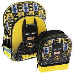 NWT Lego Batman Backpack Lunch Bag Black FREE SHIPPING