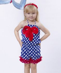 Another great find on #zulily! Blue & White Polka Dot Bow Romper - Toddler & Girls #zulilyfinds
