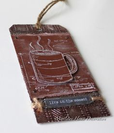 12 tags of 2016 - January - Tim Holtz - Metallic coffee tag - Tim Holtz coffee stamps (Fresh Brewed)