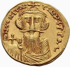 Costante II dritto di un solido coniato dalla zecca di Costantinopoli 651-654