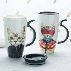 Cute Cat Ceramic Mug Tea Milk Coffee Cup Breakfast Cup With Lid 600ML Gift #Unbranded