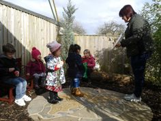 The Mighty Woodland Warriors (C) and Woodland Wendy. Story time in our new Story Circle/Nature Garden