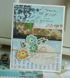 The Scrap Basket Challenge-First up, a sympathy card.  I felt the colors and patterns of the papers worked well for a sympathy card.  I simply added a punched oval along with my stamped sentiment and a flower sticker that had been floating around my scrap basket for awhile!