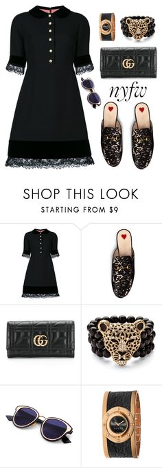 """""""Black lace"""" by ellenfischerbeauty ❤ liked on Polyvore featuring Gucci, Palm Beach Jewelry, NYFW, gucci, HowToWear and waystowear"""