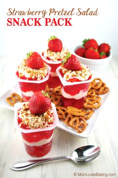 It's a fun twist on the classic dessert that the kids will love. Yummy Snacks, Yummy Treats, Sweet Treats, Foods That Contain Gluten, Dessert Cups, Dessert Ideas, Strawberry Pretzel Salad, Baked Strawberries, Classic Desserts