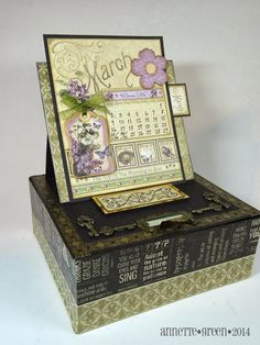 Easel Calendar Box - Graphic 45: Place in Time, washi tape  - by Annette Green at Annette's Creative Journey