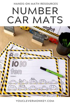 Transport Themed Number Pack - These car themed number mats are perfect for building number sense from preschool, through kindergarten to first grade! Concentrating on learning the numbers to 10, children can trace and write the numeral and then the number word before coloring the number of cars to match #preschoolmath #kindergartenmath