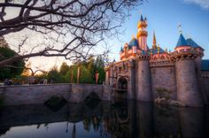 The glow of sunset on Sleeping Beauty Castle in winter in Fantasyland at Disneyland.