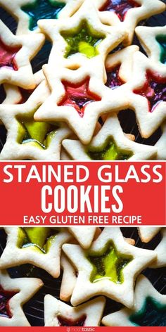 Stained Glass Cookies easy recipe for gluten free stained glass cookies. Made with Jolly Ranchers to get a beautiful clear window in the cookie. Works for Thanksgiving or Christmas a great holiday cookie. Strawberry Oatmeal Bars, Blueberry Crumble Bars, Chocolate Covered Bananas, Hot Chocolate Fudge, Gluten Free Christmas Cookies, Holiday Cookies, Fun Cookies, Decorated Cookies, Holiday Treats