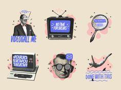 Love the 90s sticker pack by ✨ Lilla Bardenova ✨ on Dribbble Web Design, Retro Design, Layout Design, Logo Design, Graphic Design Posters, Graphic Design Illustration, Graphic Design Inspiration, Creative Inspiration, Collage Design