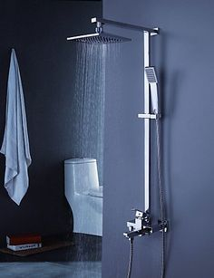 BBSLTShower tub Faucet Contemporary with 8 inch Shower Head with Hand Shower