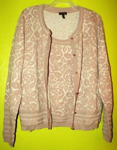Escada Twinset Sweater Wool Silk 42 Large Rose Mauve Swarovski Crystal Buttons #ESCADA #Twinset
