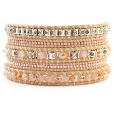 Chan Luu - Champagne Mix Sectioned Wrap Bracelet on Peach Leather, $170.00 (http://www.chanluu.com/wrap-bracelets/champagne-mix-sectioned-wrap-bracelet-on-peach-leather/)