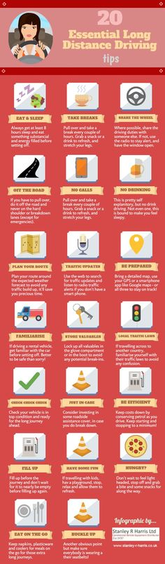 Travel infographic - long distance driving tips, Road Trip Checklist, Road Trip Hacks, Road Trips, Camping Hacks, Safe Driving Tips, Driving Safety, Driving Basics, Car Travel, Travel Tips