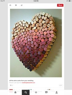 Beautiful heart made of red and white wine corks