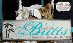 Beach House Sign Personalized Family Name Sign by MadiKayDesigns