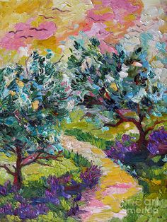 Color Of The Day, Thing 1, Colorful Trees, Olive Tree, All Art, Impressionist, Online Art, Fine Art America, Lavender