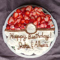 Pokeball Cupcake cake - no artficial dyes plus gluten free cupcakes!  Use sliced strawberries!