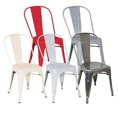 BENTLEY HOME METAL STEEL FRENCH TOLIX STYLE DINING SIDE CHAIRS - 5 COLOURS