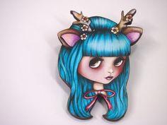 Turquoise Deer Antlers Blythe Doll Girl Laser Cut Wood Brooch, by Hungry Designs, via Etsy