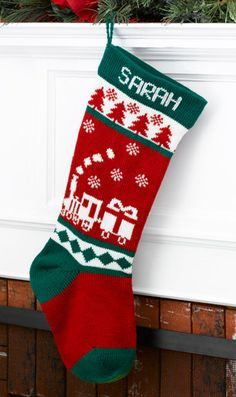 Wool Christmas Stocking Train Personalized by MerryStockings, $59.99
