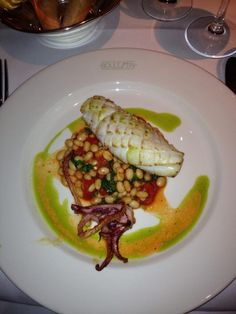 Grilled squid, roasted peppers and haricots on a bespoke 'Classic ...