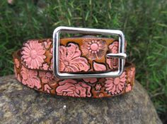 Hand Painted Tooled Leather Belt - 1 Inch Wide - Flower Bouquet - Adult, Kids or as a lovely Dog Collar via Etsy