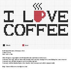 """I love coffee"" - free cross stitch or hama beads chart"