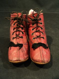 VICTORIAN ERA CHILD'S LACE-UP RED LEATHER SHOES with FANCY STITCHING