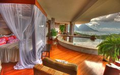 An open-air room at Jade Mountain Resort on St. Lucia at 10 Bucket List Hotels and Resorts Around the World by LaJollaMom Tropical Master Bedroom, Pool Bedroom, Dream Bedroom, Outdoor Bedroom, Fantasy Bedroom, Pretty Bedroom, Tropical Bedrooms, Dream Rooms, Hawaiian Bedroom