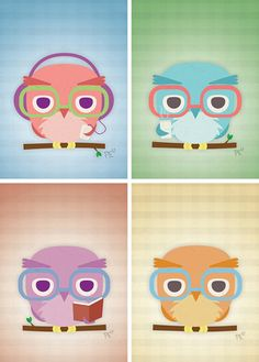 """""""Hipster Owls"""" all four prints $25. Perfect for home, nursery, or office!"""