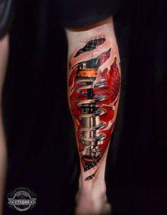 Biomechanical Calf Tattoo