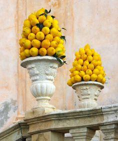 Ceremonial lemons outside a more ornate church. Italy, Sicily
