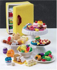описание + схемы Вязаный крючком холодильник с продуктами