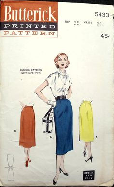 1940s Butterick Vintage Sewing Pattern 5433 - Skirt - Size 14