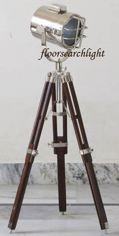 NAUTICAL CHROME TABLE LAMP STUDIO INDIAN ROSEWOOD SEARCHLIGHT TRIPOD SPOT LIGHT
