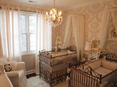 This #twin #nursery is as elegant as they come. #neutral #damask #sharedroom