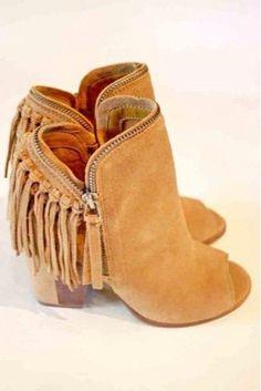 Brown fringed #booties