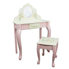 Fantasy Fields - Bouquet Thematic Kids Classic Vanity Table and Stool Set with Mirror | Imagination Inspiring Hand Crafted & Hand Painted Details | Non-Toxic, Lead Free Water-based Paint, http://www.amazon.com/dp/B0019FLH4S/ref=cm_sw_r_pi_awdm_x_9DZ.xbZPF17M9