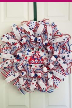 Here's to the Red, White and Blue! We're sure this patriotic wreath, made on the Character Board by Annette Taylor gets a lot of compliments! So good!As long as you are supportive and kind, we invite you to join our Facebook community go.uniqueinthecreek.com/facebookgroupGet your UITC™ Character Board now Summer Crafts For Kids, Diy Projects For Kids, Patriotic Crafts, Patriotic Wreath, Wreath Crafts, Diy Wreath, Diy Ideas, Decor Ideas, Craft Ideas