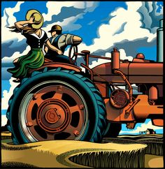 Digital Scratchboard by Chris Gall.It's a red tractor! Graphic Design Illustration, Graphic Art, Illustration Art, Graphic Prints, Esteban Murillo, Industrial Paintings, Art Deco Posters, Scratchboard, Illustrations Posters