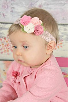 Pink felt flower headband - newborn/baby/toddler headband -  Spring bouquet headband -
