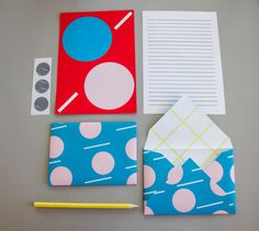Colorful Letter Stationery Set by @Natsumishop, $18.00 #stationery #paper #letter #pattern #circles